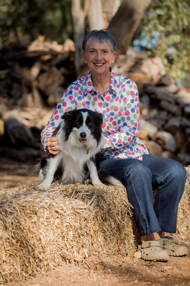 Author Meredith Appleyard and her border collie Lily, at home in the Clare Valley.